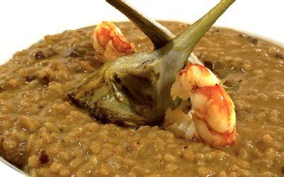 Arroz de langostinos y alcachofa mantecado