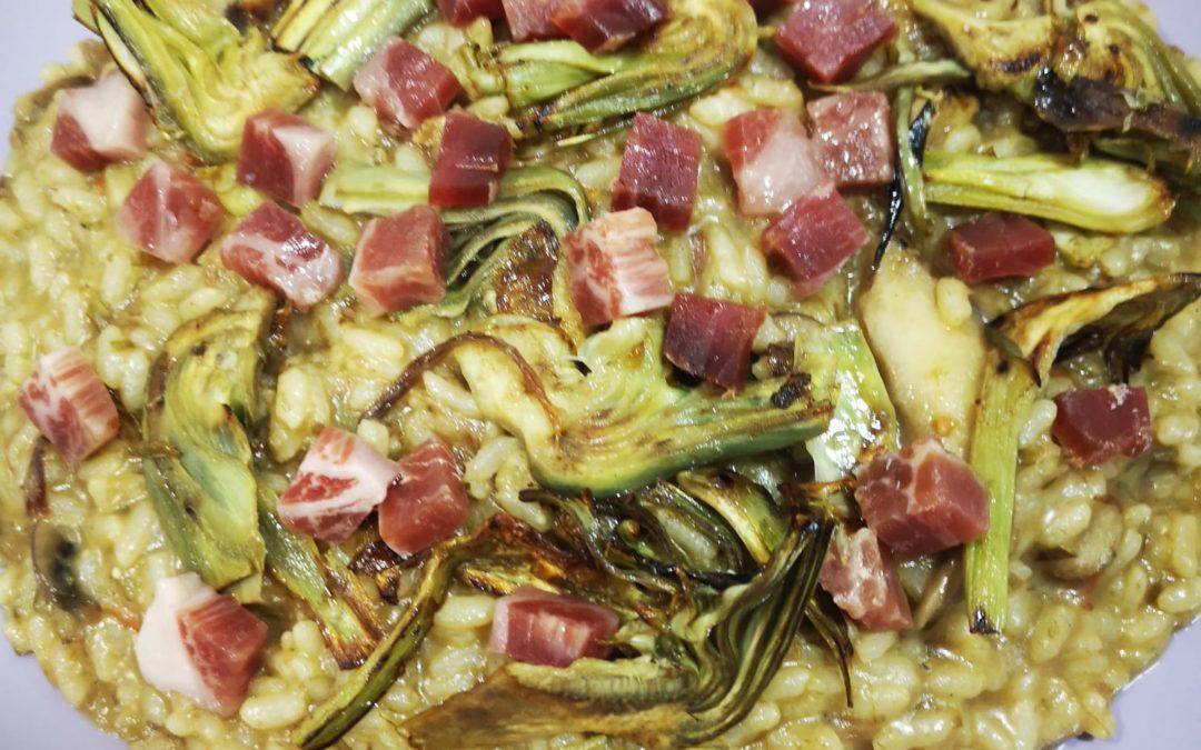 Arroz de alcachofas con jamón y setas en olla exprés